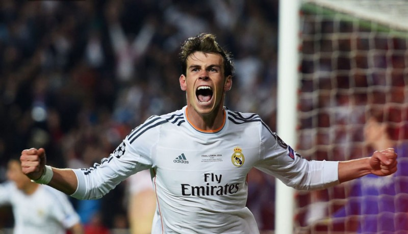 Gareth Bale goal celebration, in Real Madrid 4-1 Atletico, in the UCL final