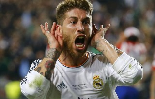 Sergio Ramos ears celebration, in his goal in Real Madrid vs Atletico Madrid