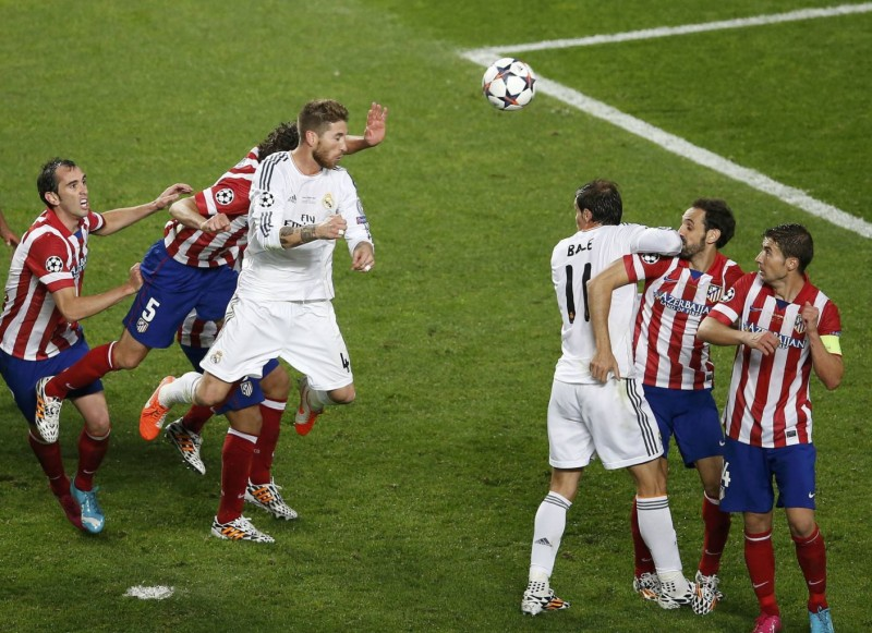 Cristiano Ronaldo scoring the 4-1 in the Champions League final between Real Madrid and Atletico