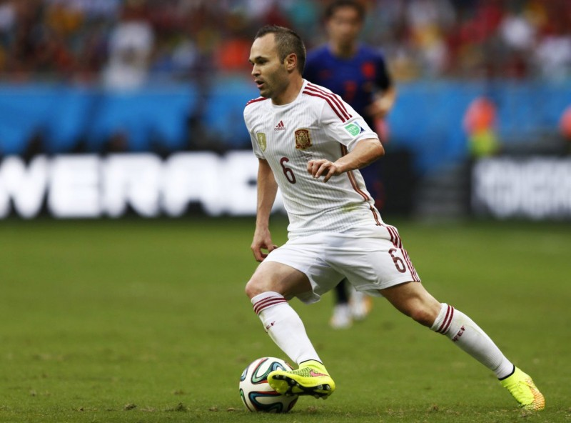 Andrés Iniesta in Spain's National Team away jersey, at the World Cup 2014