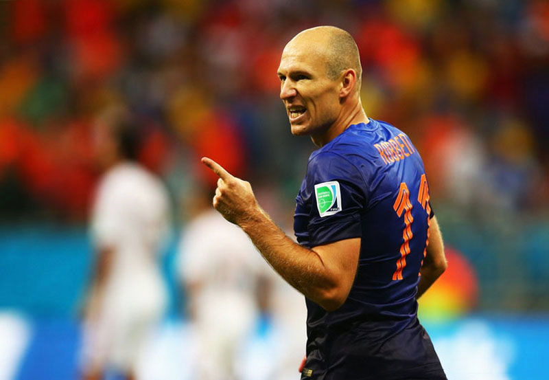 Arjen Robben playing for the Netherlands in the FIFA World Cup 2014