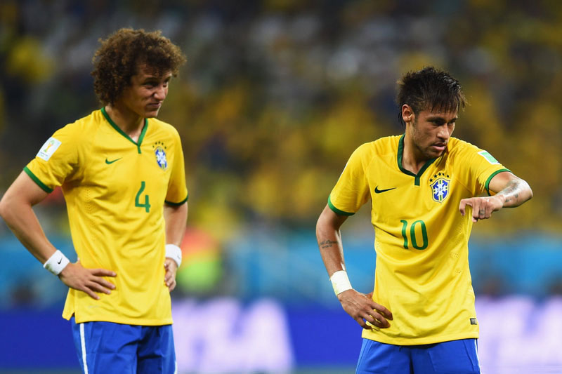 David Luiz and Neymar Jr, in Brazil's first game at the 2014 FIFA World Cup