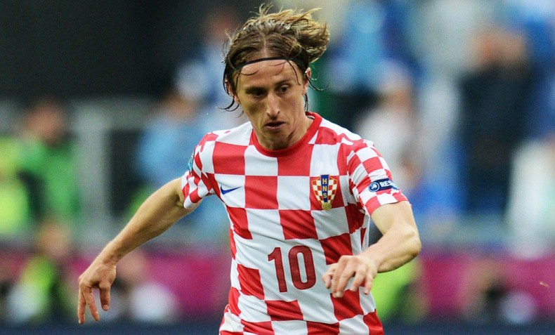 Luka Modric with Croatia home jersey for the World Cup 2014