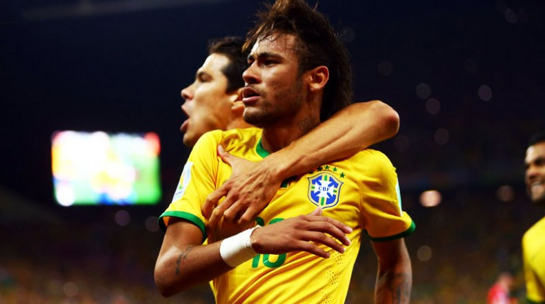 Neymar celebrating winning goal in Brazil vs Croatia