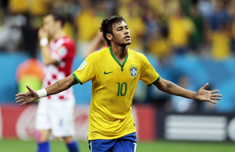 Neymar winning his first World Cup game for Brazil