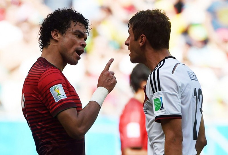 Pepe vs Thomas Muller, in Portugal vs Germany at the FIFA World Cup 2014