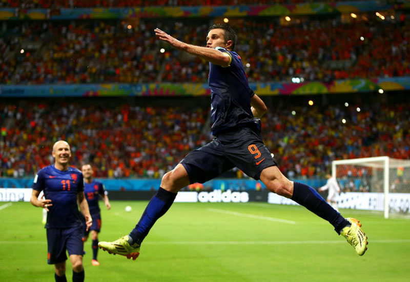 Robin van Persie celebrating a goal in Spain vs Netherlands, in the World Cup 2014