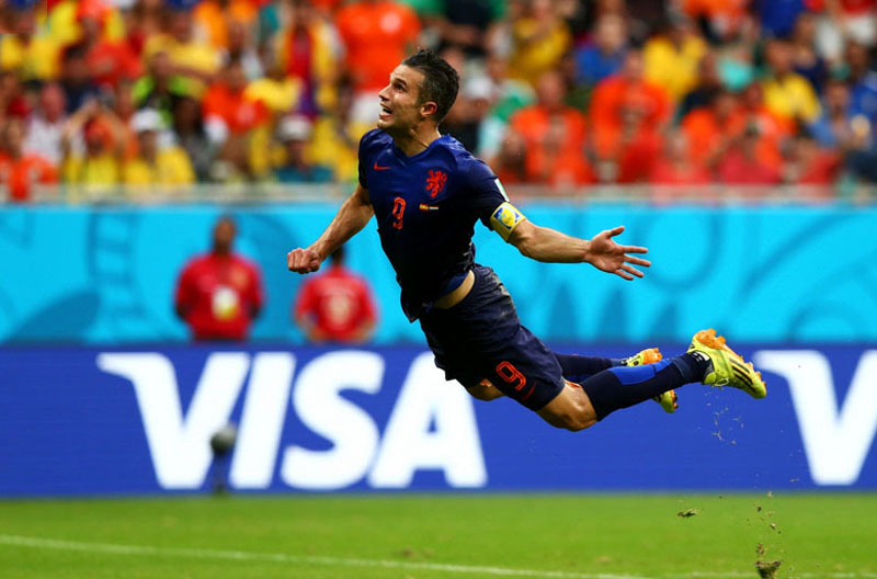 Robin van Persie diving header goal, in Spain 5-1 Netherlands, at the World Cup 2014