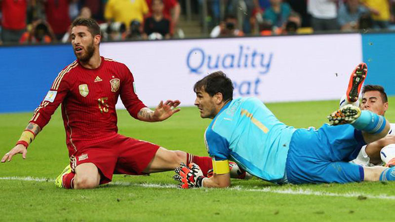 Sergio Ramos and Iker Casillas, in Spain's FIFA World Cup 2014