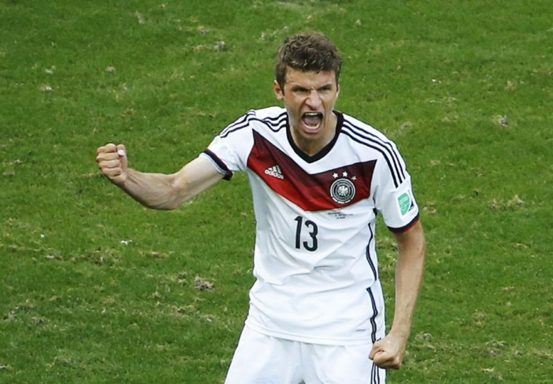 Thomas Muller celebrating his first goal in Germany 4-0 Portugal, in the 2014 FIFA World Cup