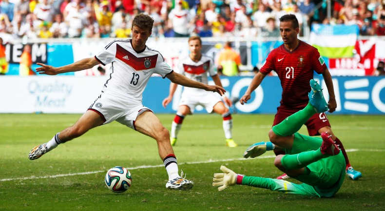 Thomas Muller completing his hat-trick in Germany 4-0 Portugal, for the FIFA World Cup 2014