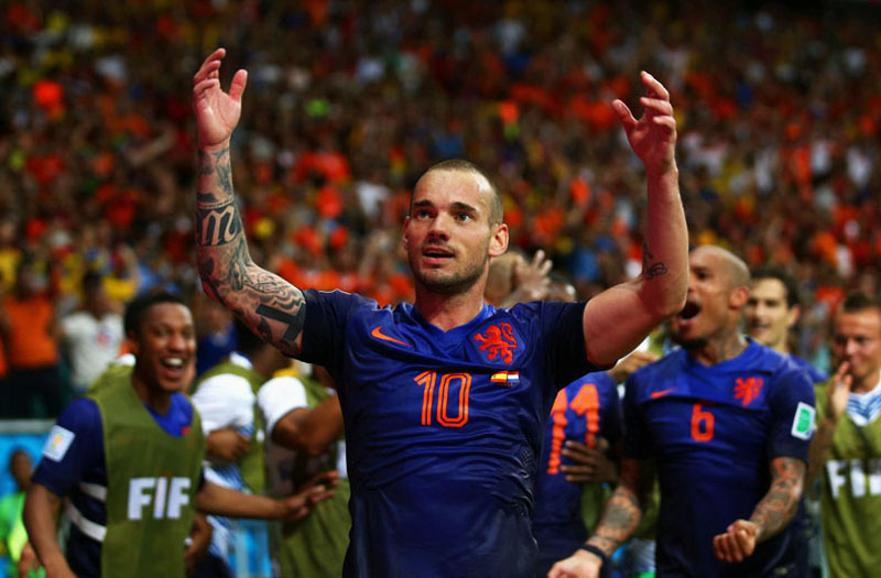 Wesley Sneijder celebrating Netherlands 5-1 win over Spain, in the 2014 World Cup