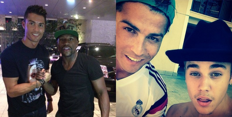 Cristiano Ronaldo hanging out with Floyd Mayweather and Justin Bieber