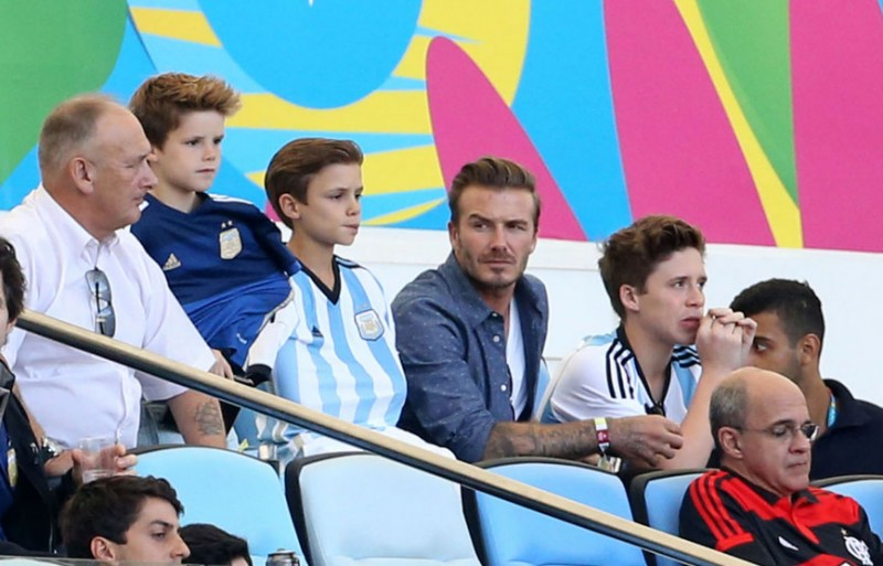 David Beckham watching the FIFA World Cup final in 2014