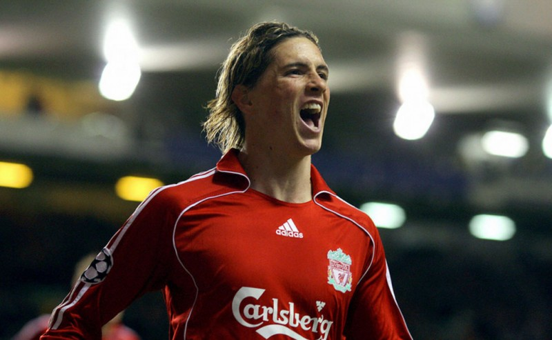 Fernando Torres celebrating a goal for Liverpool
