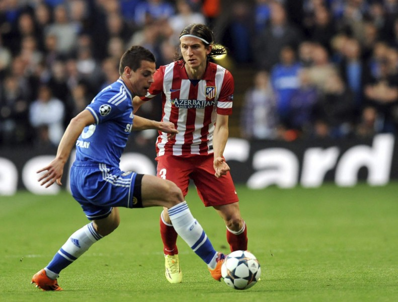 Filipe Luis in Atletico Madrid vs Chelsea