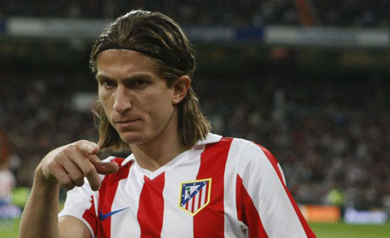 Filipe Luis wearing Atletico Madrid jersey
