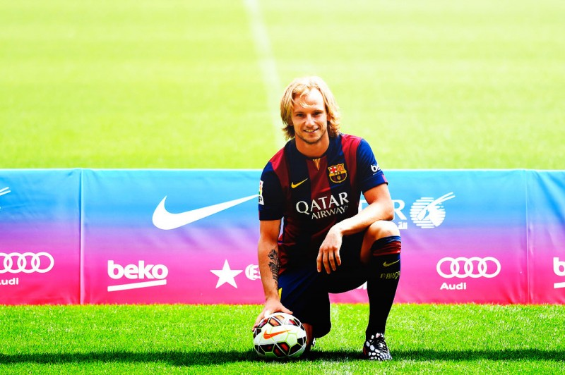 Ivan Rakitic in his FC Barcelona presentation day for the 2014-15 season