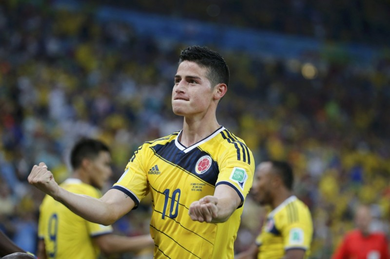 James Rodríguez playing for Colombia in the FIFA World Cup 2014