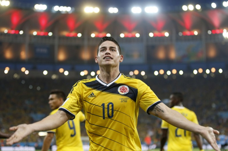 James Rodríguez wearing Colombia's jersey number 10