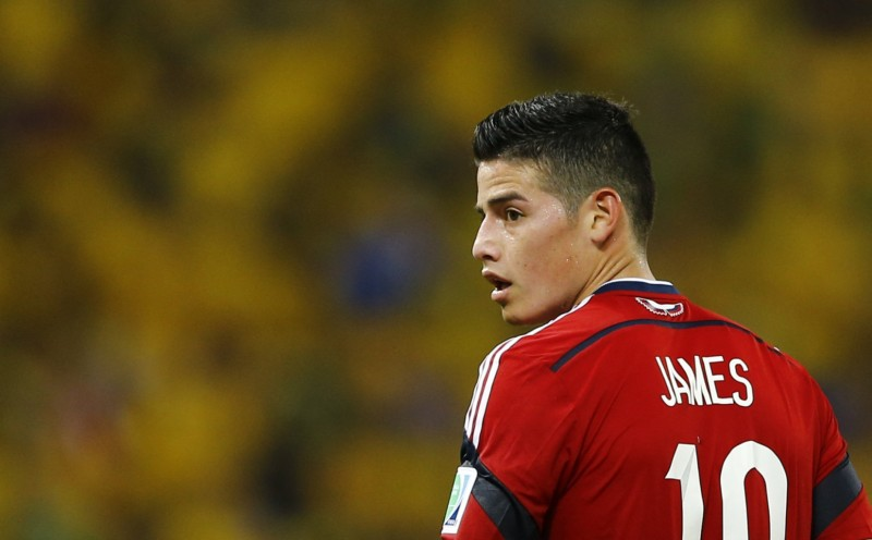 James Rodríguez in Colombia's red shirt