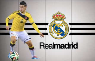 James Rodríguez in a Real Madrid wallpaper