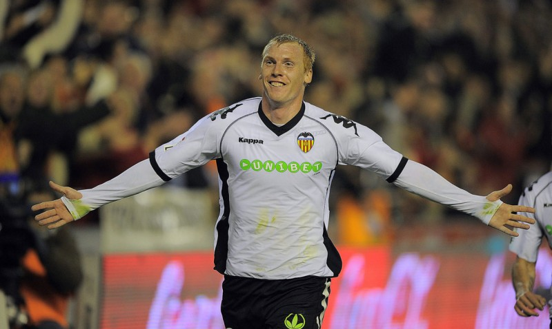 Jeremy Mathieu after scoring a goal for Valencia