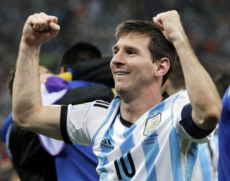 Lionel Messi after winning the game between Argentina and Netherlands, in the World Cup 2014