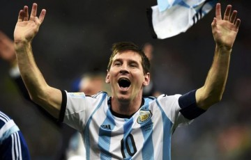 Lionel Messi celebration after Argentina's qualification to the FIFA World Cup final