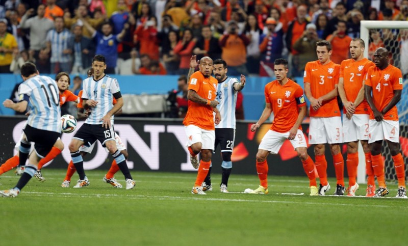 Lionel Messi free-kick in Argentina vs Netherlands, in the FIFA World Cup 2014