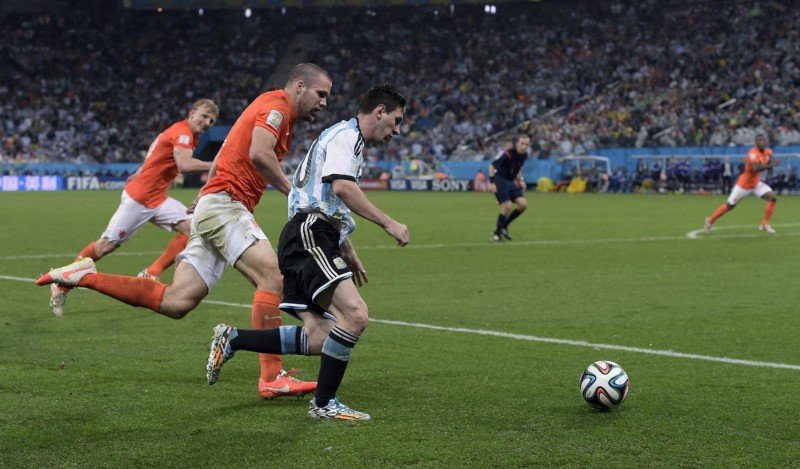 Lionel Messi in Argentina vs Netherlands, in the FIFA World Cup 2014