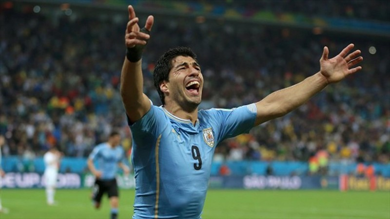 Luis Suarez crying for Uruguay at the 2014 FIFA World Cup