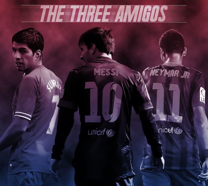 Luis Suárez, Lionel Messi and Neymar - FC Barcelona wallpaper 2014-2015