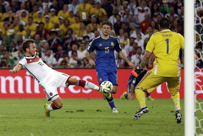 Mario Gotze goal in the 2014 FIFA World Cup final, Germany vs Argentina