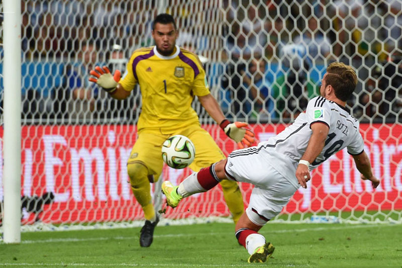 Mario Gotze goal in Germany 1-0 Argentina, in the 2014 FIFA World Cup final