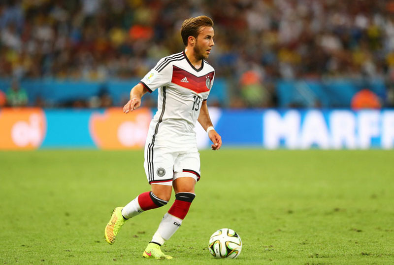 Mario Gotze playing for Germany in the World Cup final vs Argentina