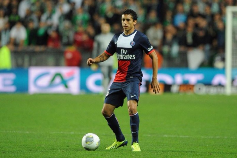 Marquinhos playing for PSG in 2014