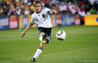 Philipp Lahm wearing jersey 16 in the German National Team
