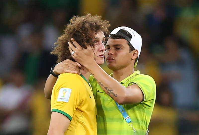 Thiago Silva comforting David Luiz in Brazil 1-7 Germany, at the FIFA World Cup 2014