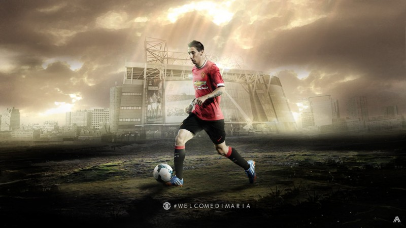 Angel Di María wallpaper, wearing Manchester United's jersey