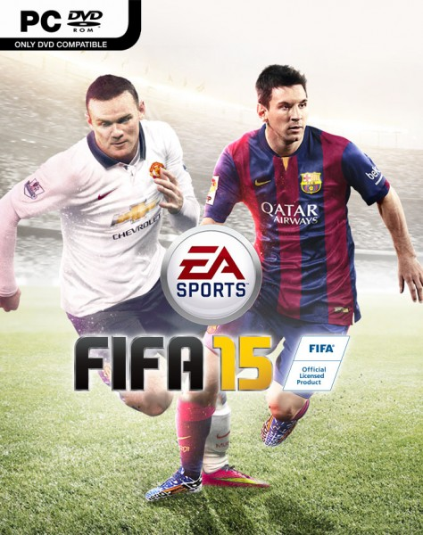 FIFA 15 PC box cover with Wayne Rooney and Lionel Messi