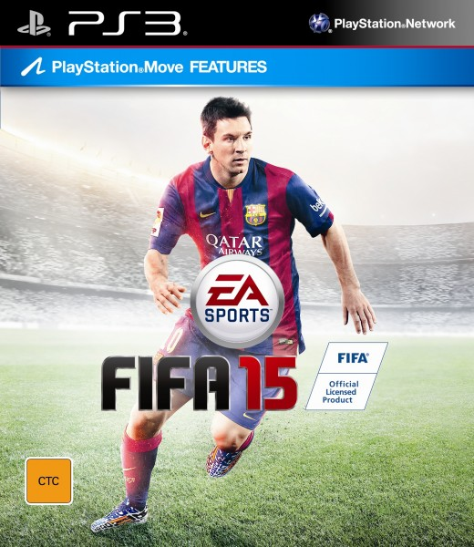 FIFA 15 PS3 box cover with Lionel Messi