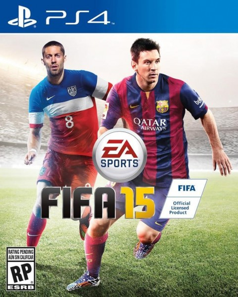 FIFA 15 PS4 box cover with Dempsey and Messi