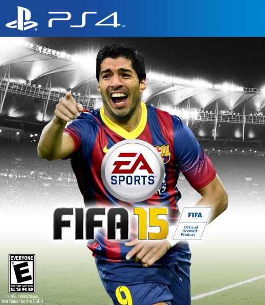 FIFA 15 PS4 box cover with Luis Suarez