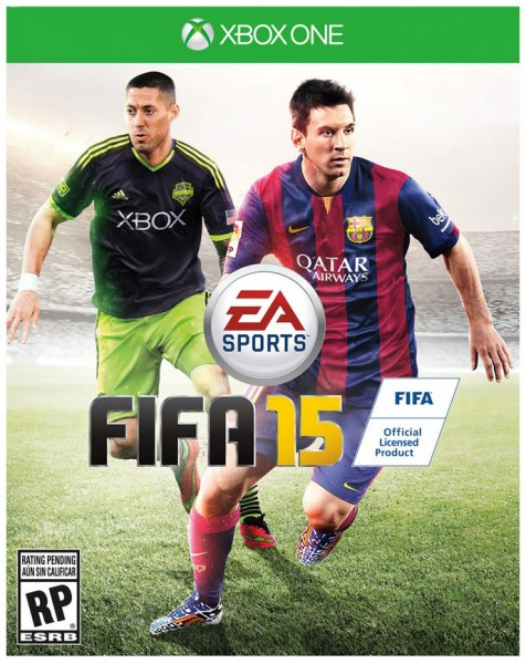 FIFA 15 Xbox One box cover with Lionel Messi and Dempsey