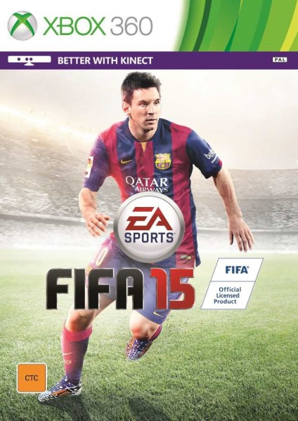 FIFA 15 Xbox 360 box cover with Lionel Messi