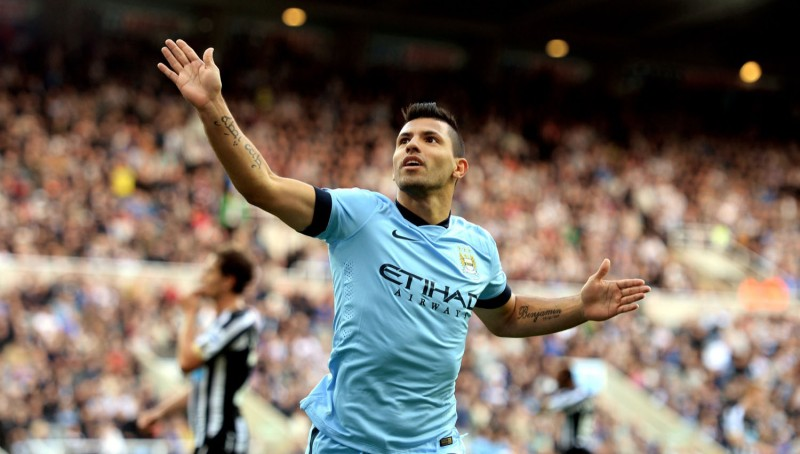 Sergio Aguero in a Manchester City shirt 2014-2015