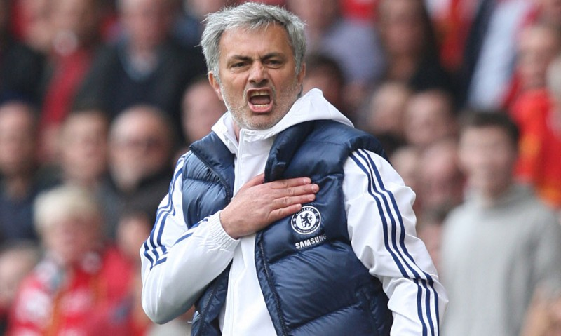 José Mourinho showing his love for Chelsea FC