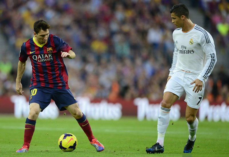 Lionel Messi and Cristiano Ronaldo in El Clasico