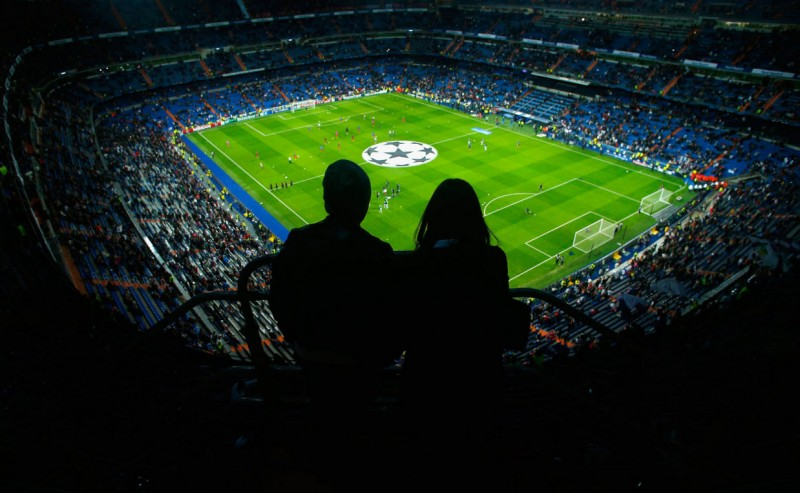 Santiago Bernabéu view from the stands, in a night game